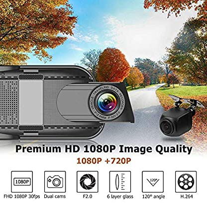 SODIAL-10-Zoll-4G-Auto-Rck-Spiegel-Dvr-Kamera-Doppel-Objektiv-Android-51-Dash-Cam-App-Adas-Warnung-Bluetooth-Doppel-Objektiv-G-Sensor-Dvr