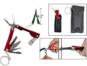 Accedre 9 in 1 Micro Plier Tool Kit LED Flash Light Knife Blade Cutter Key Ring 31 21 11