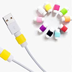 Aryshaa 10pcs Multicolor Protector Saver Cover for iPhone iPad USB Charger Cable (Assorted Color)