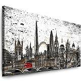 Julia-Art Leinwandbilder - 100 mal 40 cm Panorama Bild London Stadt Skyline - Wandbild fertig gerahmt - Kunstdruck XXL Leinwand - verschiedene Varianten Lo-01-2