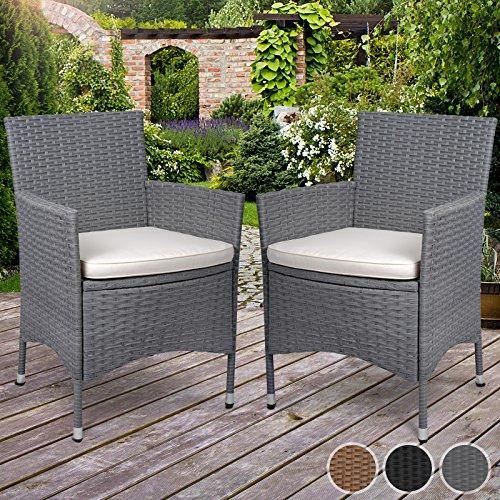 Miadomodo Polyrattan Gartenmöbel Rattanmöbel Stühle in 2er-Set - in der Farbe nach Ihrer Wahl (Grau)