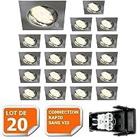 LOT DE 20 SPOT ENCASTRABLE ORIENTABLE LED CARRE ALU BROSSE GU10 230V eq. 50W BLANC CHAUD