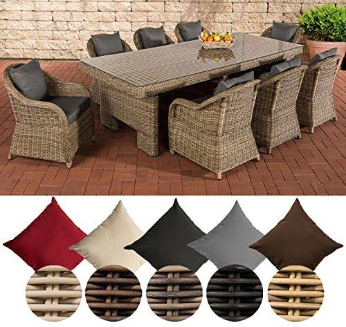 CLP Polyrattan-Sitzgruppe Candela XL Inklusive Polsterauflagen | Garten-Set mit Acht Stühlen und Esstisch Bezugfarbe: Eisengrau, Rattan Farbe Natura