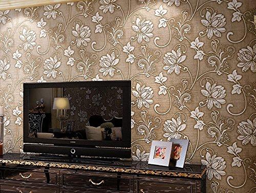 3D wallpaper minimalistische moderne Beflockung geprägtes vlies Schlafzimmer Wohnzimmer Hintergrund Wand TV Wallpaper kaufen drei erhalten ein ( Color : Brown )