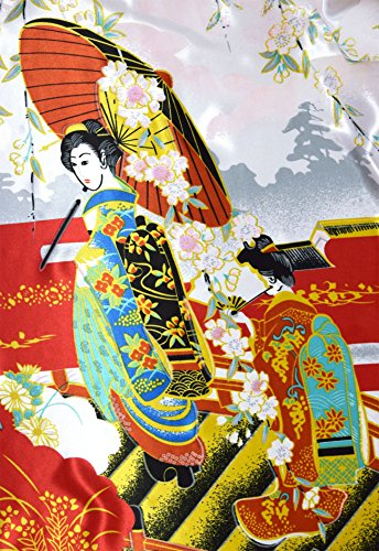 Damen Morgenmantel kimono kurz Satin Rot