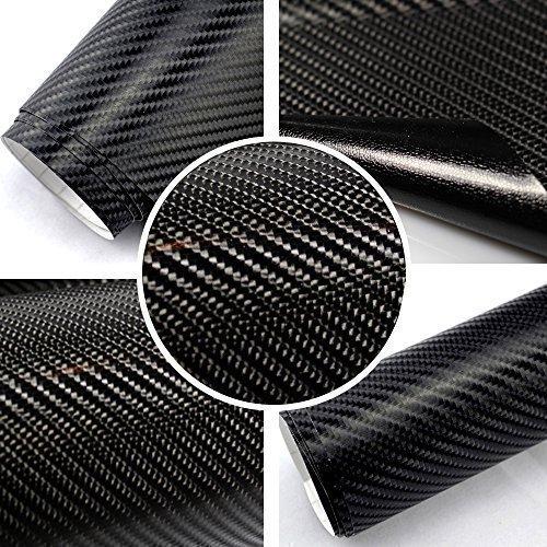 Autofolie 4D Carbon Schwarz 152cm breit BLASENFREI mit Luftkanäle 3D Flex Folie Auto -