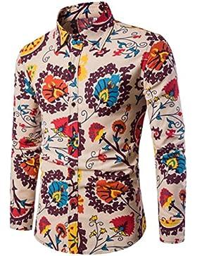 Camicia Uomo,FeiXIANG Uomo casual manica lunga camicia Business Slim fit camicia stampa camicetta top (Multicolore...