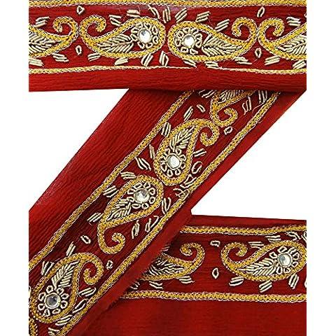 Lace Red Ribbon Vintage Sari bordo di nuovo antico 1YD mano di perline indiano cucito