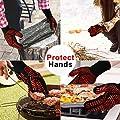 isimsus Grillhandschuhe Ofenhandschuhe, Grillhandschuhe Hitzebeständig bis zu 800? mit EN407 Zertifizierte, Kochenhandschuhe Backhandschuhe BBQ Handschuhe für Kochen, Backen, Schweißen, Rot(1 Paar)