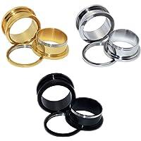 D&Min Jewelry Set da 6 pezzi di dilatatori per lobo/tunnel/plugs/Ear Stretcher/ in acciaio con vite. Colori Oro…
