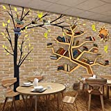 Liwenjun Tapete 3D Moderne Mode Cartoon Großen Baum Bücherregal Brick Wall Hintergrund, 200 * 140 cm