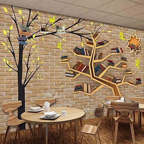 Liwenjun Tapete 3D Moderne Mode Cartoon Großen Baum Bücherregal Brick Wall Hintergrund, 200 * 140...