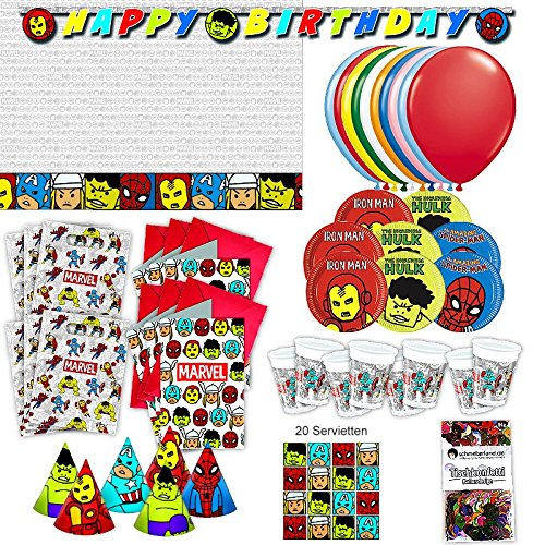 Procos Avengers Team Power Party Set XL 73-teilig für 6 Gäste Superhelden Comic Geburtstag Deko Partypaket