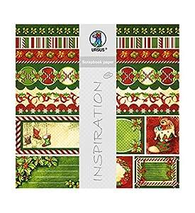 Ursus 703000218No Premium Glitter Scrapbook Paper Happy Christmas, Aprox. 30,5x 30,5cm, 5Hojas, diseño 218