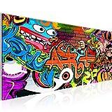 Bilder Graffiti Street Art Wandbild 100 x 40 cm Vlies - Leinwand Bild XXL Format Wandbilder Wohnzimmer Wohnung Deko Kunstdrucke Bunt 1 Teilig -100% MADE IN GERMANY - Fertig zum Aufhängen 402112a