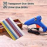 Pistola per Colla,CrazyFire Pistola a Caldo per Colla con 50 Pezzi 7mm Stick di Colla,30 Stick Trasparenti&20 Stick Glitter(20W, Blu)