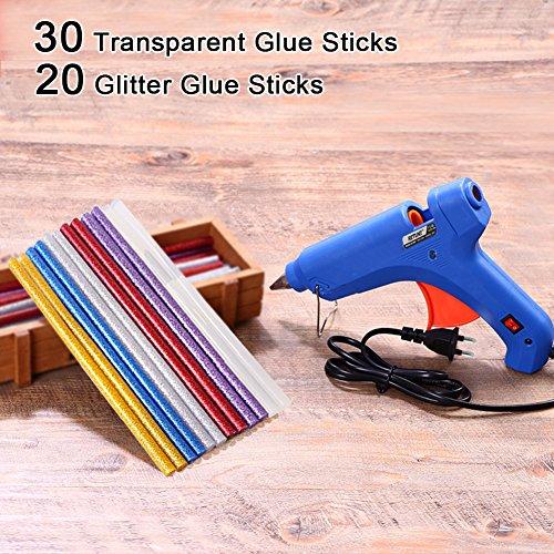 Pistola de Silicona,CrazyFire Kit y Encolar de Pistolas con 50 psc Barras de Pegamento-30 Transparente y 20 Glitter(20 Vatios, Azul)