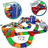 TONZE Circuit Flexible Circuit Voiture Enfant Jeu Circuit avec Accessories 288 Pcs Rails