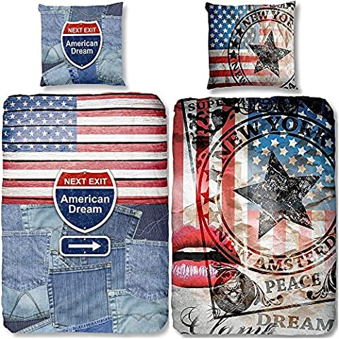 Aminata - coole Teenager-Bettwäsche USA Flagge 135x200 cm Baumwolle Amerika-Motiv amerikanische Bettwäsche USA-Motiv Vintage Jungen Mädchen Teen Star