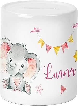 Yuweli Baby Elefant in Mint Spardose f/ür Kinder Jungen und M/ädchen mit Namen personalisiert zur Einschulung Taufe Geburtstag Geburt Sparschwein Geldgeschenk Kinderspardose