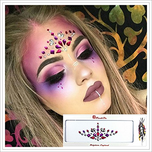 FACE GEM- Rave Festival Make up- Face Sticker- Jewelled Headpiece- All In One Stick On Bindi Tattoo- Body Art Glitter - Face Jewels- Ibiza Forehead crystal Jewellery- FREE SPIRIT PINK FUS02