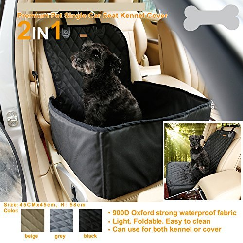 Hundetransportbox Autositzbezug Autoschutzdecke Hängematte Autositz für Haustier Hund Katze Pet Vodersitzbezug (Schwarz) - 2