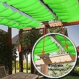 Seilspannmarkise ca. 415x140 cm apfelgrün Sonnensegel Metall Seilspanner