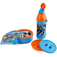Cello Tiffy Gift Set Insulated Lunch Box + Water Bottle, Inner Steel (Batman)