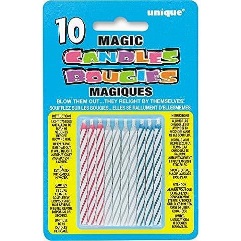 Unique Party - 9805M - Bougies d'Anniversaire Magiques - Coloris Aléatoire
