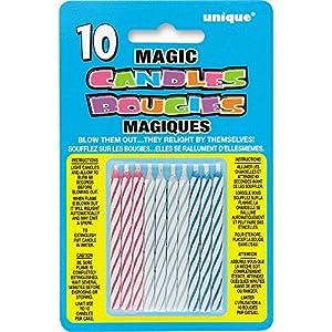 Unique Party Paquete de 10 Velas de cumpleaños mágicas, Multicolor (9805M) , Modelos/colores Surtidos, 1 Unidad
