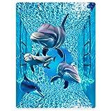 Dick Decke Weich Wärme Gemütlich Flanell-Fleece Sofadecke Deckeldecke 3d Bilder Cute Delfine Wellen Tiere 150 x 200 cm