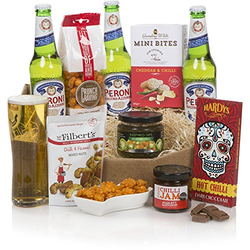 Hot N Spicy Beer Hamper - Beer Gift Pack With Peroni Beers & Assortment Of Spicy Snacks Including Nuts, Jalapeno Dip & Chilli Chocolate