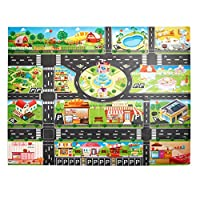 AeeKing Children Play Mats House Traffic Road Signs Car Model Parking City Scene Map Durable and Useful