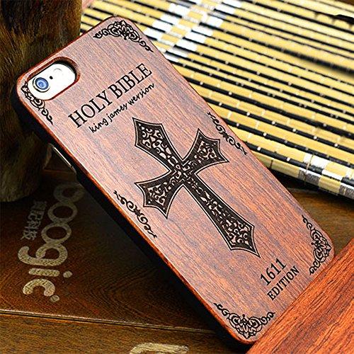 Forepin® Naturholz Hülle für iPhone 5 / 5G / 5S / SE,Ultra Dünne Echt Sandelholz und PC Hart Schale im Gravur Schnitzen Muster Elegantes Design Bumper Case Cover - Kompass Carving Muster Bibel