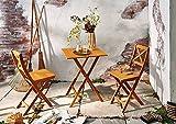 SAM® Conjunto para jardín de color natural, mueble de madera de acacia, 3 piezas, 1 mesa + 2 sillas,...
