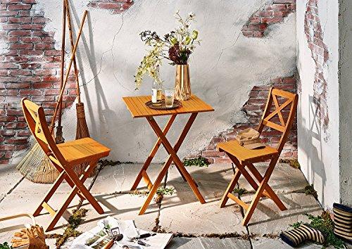 garten e tischgruppe SAM® Gartengruppe natur, 3tlg. Balkongruppe aus Akazienholz, 1x Tisch + 2x Stuhl, Garten-Tischgruppe, Sitzgruppe