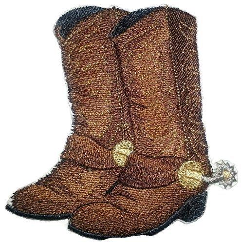 BeyondVision Individuelle und einzigartige Cowboygang stickte Eisen Nähen Patches 4.67 x4.33 grau, schwarz, weiß, braun (Mädchen Weißen Cowboy-stiefel)