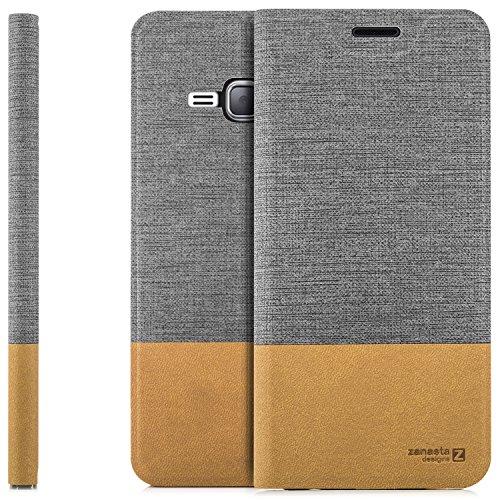 Zanasta Funda Samsung Galaxy J1 (2016) Case Cubierta Carcasa Flip Cover Tapa Delantera con Billetera para Tarjetas, Cierre Abatible - Protectora Gris