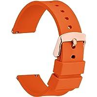 WOCCI Cinturino Silicone con Fibbia Oro Rosa, Sgancio Rapido, Cinturini per Orologio 14mm 16mm 18mm 20mm 22mm