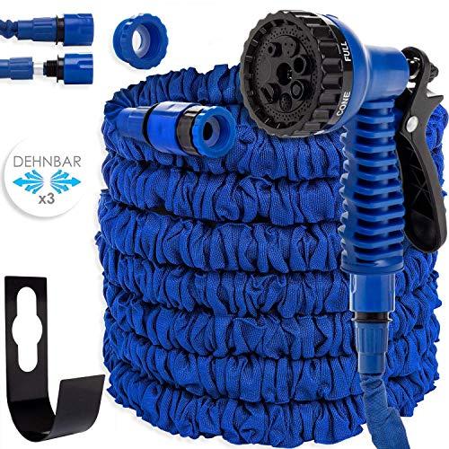 Kesser® 22,5m Flexibler Gartenschlauch Basic Wasserschlauch dehnbarer Flexischlauch Multisfunktionsbrause mit 8 Funktionen, Adapter inkulsive passend für jeden Wasserhahn mit Gewinde, (Blau)