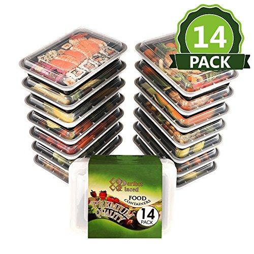 [14 pz] Contenitori Alimentari 1 Scomparto Per Alimenti, Senza BPA. Lunch Box Riutilizzabili di Plastica Con Coperchio. Impilabili, Adatti a Congelatore, Microonde e Lavastoviglie. Bento Box + Ebook