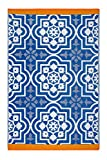 Kitchen & Housewares : Fab Hab - Puebla - Blue Indoor Outdoor Rug/Mat (120 cm x 180 cm)