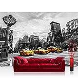 Fototapete 368x254 cm PREMIUM Wand Foto Tapete Wand Bild Papiertapete - New York Tapete Stadt Taxis Uhr New York schwarz weiß - no. 2661