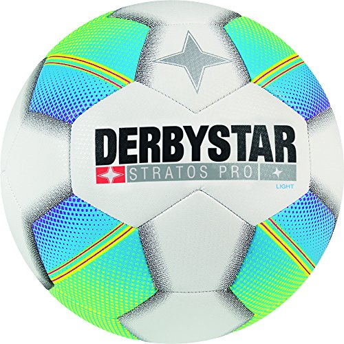 Derbystar Kinder Stratos Pro Light Fussball, weiß blau gelb, 5
