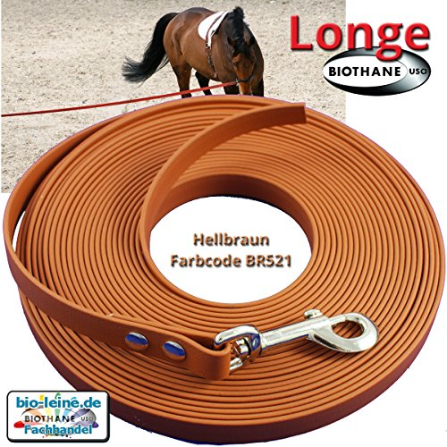 Longe Longierleine für Pferde 16mm aus Beta BioThane®, Pferdelonge für Reitsport, 6 Meter lang in Hellbraun