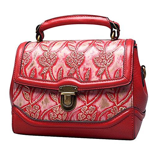 Leathario borsa di vera pelle da Donna a mano a tracolla borsa in stile classico borsa vintage borsa estiva stile cinese borsa elegante roasso Ebay Barato Pago De Descuento Con Paypal Orden Punto De Venta Donde Se Puede Encontrar kUJHfFMx