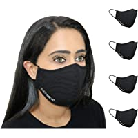 Step Ahead ® | 5 Pack Triple Layer Cotton Black Face Mask (Pack of 5) | Unisex Reusable Fashion Washable | Nano Mesh…