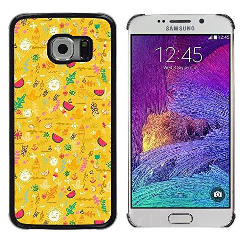 DEMAND-GO ( Nicht für S6 ) Handy Durabel Hart Schutz Hülle Einzig Bild Schale Cover Etui Case Für Samsung Galaxy S6 EDGE SM-G925 - gelb glücklich optimistisch Muster