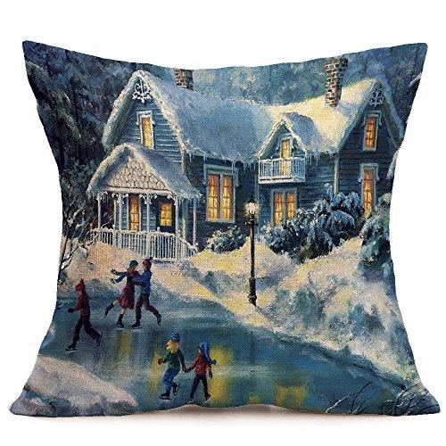 Fossrn Navidad Fundas Cojines 45x45,Patrón de Paisaje Nieve Funda de Almohada Decorativo (05)