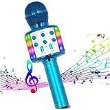 Microphone Sans Fil Karaoké, Micro Bluetooth Lecteur karaoké Portable 4 en 1 avec lumières LED dansantes compatibles avec les